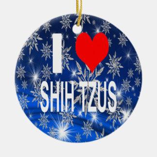 Eu amo enfeites de natal do tzus de Shih, Shihtzu