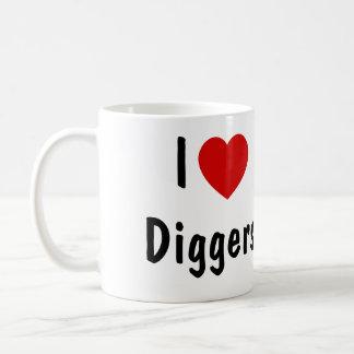 Eu amo escavadores caneca de café