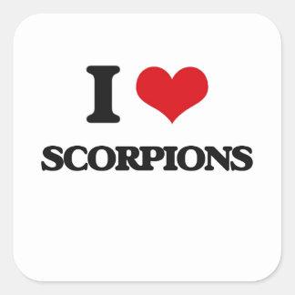 Eu amo escorpião adesivo quadrado