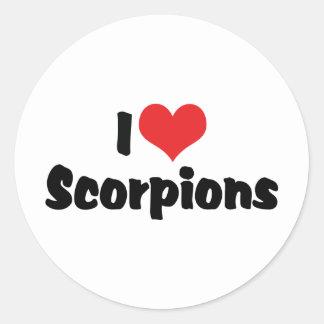 Eu amo escorpião adesivo redondo