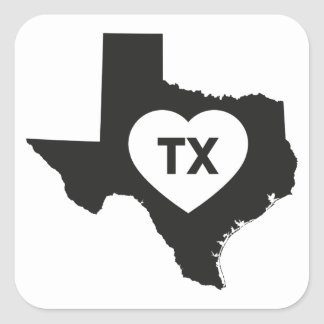 Eu amo etiquetas do estado de Texas
