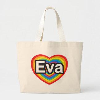 Eu amo Eva. Eu te amo Eva. Coração Bolsa De Lona