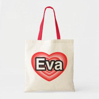 Eu amo Eva. Eu te amo Eva. Coração Bolsa Tote