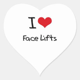 Eu amo faces lift adesivo coração