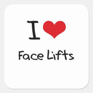 Eu amo faces lift adesivo quadrado