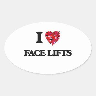 Eu amo faces lift adesivo oval