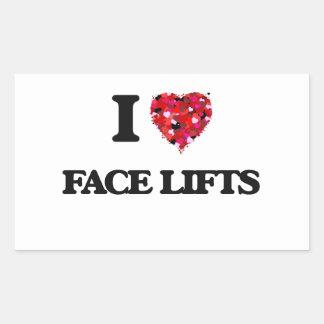 Eu amo faces lift adesivo retangular