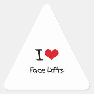 Eu amo faces lift adesivos triângulo