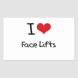Eu amo faces lift adesivo em formato retângular