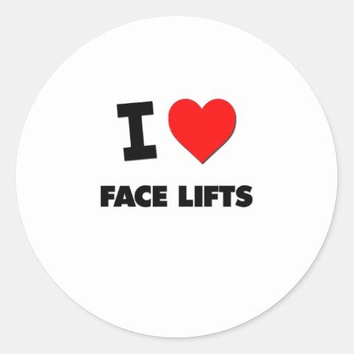 Eu amo faces lift adesivos em formato redondos