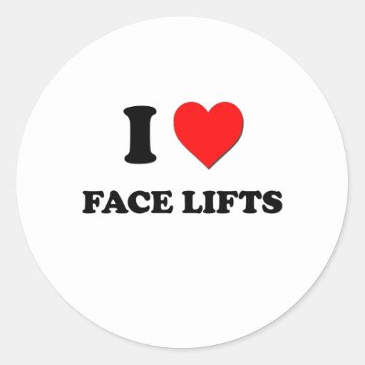 Eu amo faces lift adesivo redondo