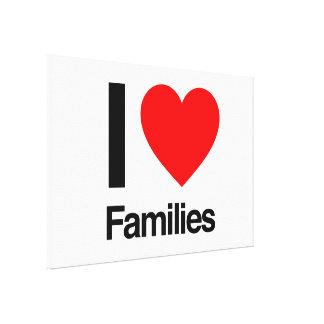 eu amo famílias impressão de canvas esticada