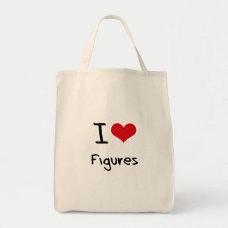 Eu amo figuras bolsas para compras