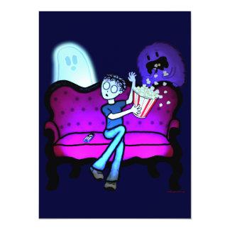 Eu amo filmes assustadores convite personalizados