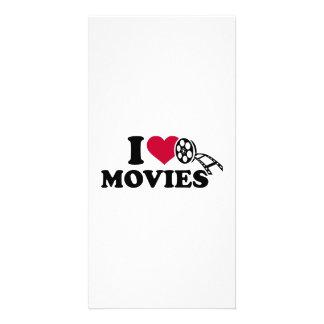 Eu amo filmes cartão com foto