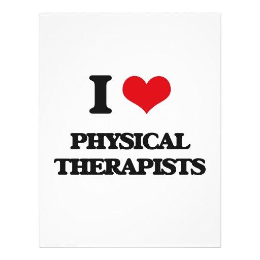 Eu amo fisioterapeutas modelos de panfleto