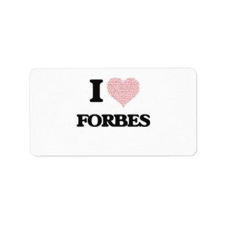 Eu amo Forbes Etiqueta De Endereço