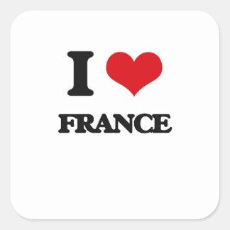 Eu amo France Adesivo Em Forma Quadrada
