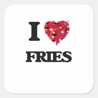 Eu amo fritadas adesivo quadrado