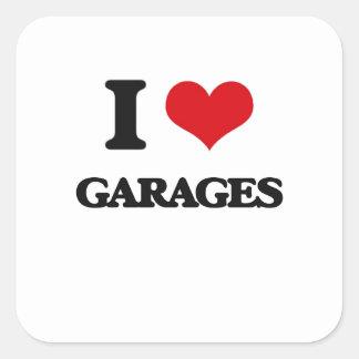 Eu amo garagens adesivo em forma quadrada
