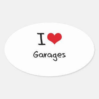 Eu amo garagens adesivos em formato oval