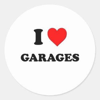 Eu amo garagens adesivo redondo