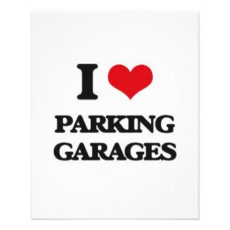 Eu amo garagens de estacionamento panfleto coloridos