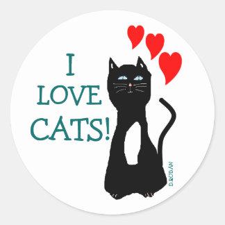 Eu amo gatos! adesivo em formato redondo