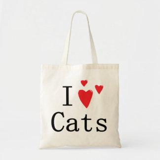 Eu amo gatos bolsas de lona
