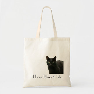 Eu amo gatos pretos bolsas de lona
