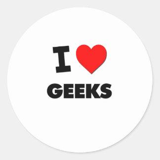 Eu amo geeks adesivos redondos