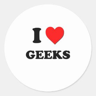 Eu amo geeks adesivos em formato redondos