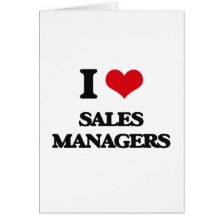 Eu amo gerentes de vendas cartão comemorativo