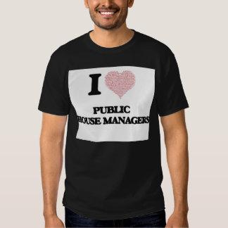 Eu amo gerentes do bar (coração feito da palavra camiseta