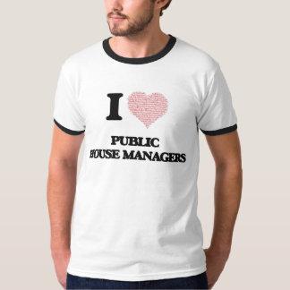 Eu amo gerentes do bar (coração feito da palavra camisetas