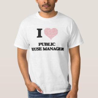 Eu amo gerentes do bar (coração feito da palavra tshirt