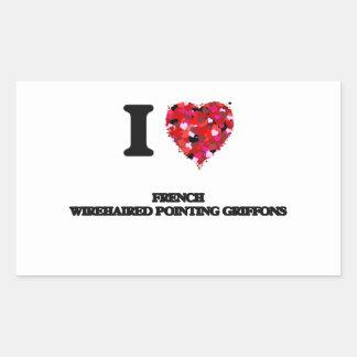Eu amo Griffons apontando Wirehaired francês Adesivo Retangular