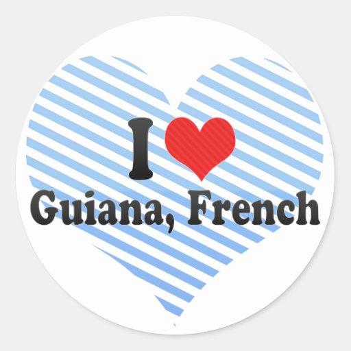 Eu amo Guiana, francês Adesivos