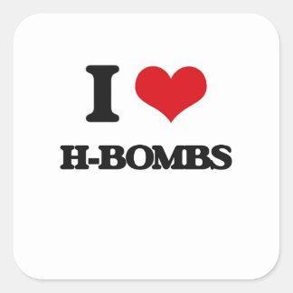 Eu amo H-Bombas Adesivo Em Forma Quadrada