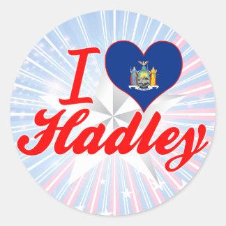 Eu amo Hadley, New York Adesivo Redondo