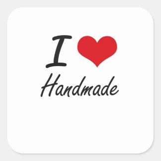 Eu amo Handmade Adesivo Quadrado
