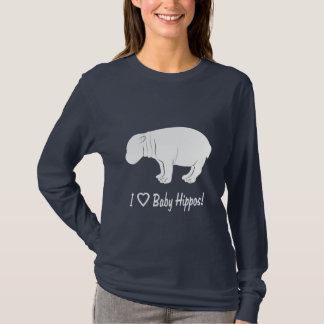 Eu amo hipopótamos do bebê camiseta