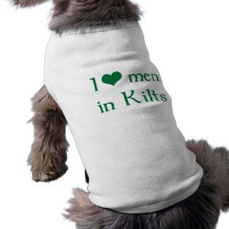 Eu amo homens nos Kilts Camisa Sem Mangas Para Cachorro