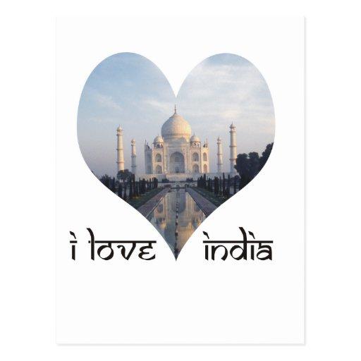Eu amo India com Taj Mahal Cartoes Postais