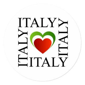 Eu amo Italia com cores italianas da bandeira Convite Quadrado 13.35 X 13.35cm