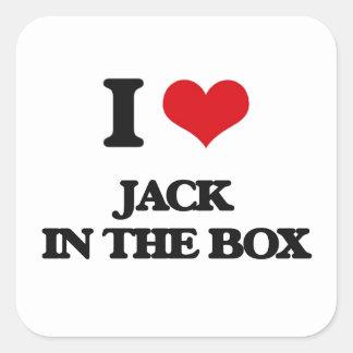 Eu amo Jack in the Box Adesivo Quadrado