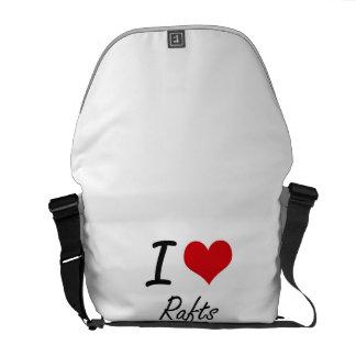 Eu amo jangada bolsas mensageiro