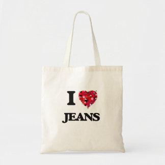 Eu amo jeans sacola tote budget