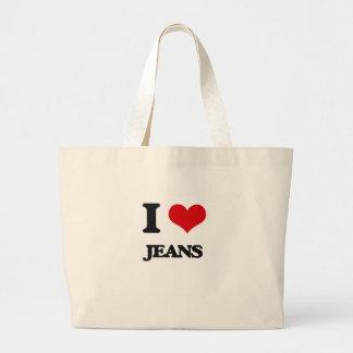 Eu amo jeans sacola tote jumbo