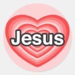 Eu amo Jesus. Eu te amo Jesus. Coração Adesivos Redondos